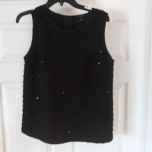 Ann Taylor Sleeveless Black Sequin Size M